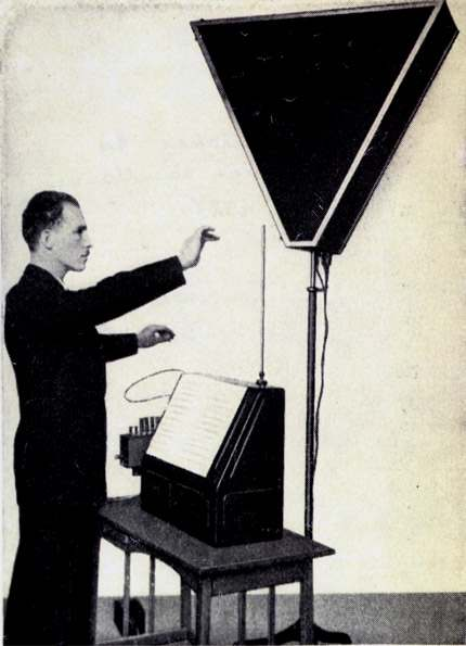 Leon Theremin and his creation--a musical instrument responsible for the hallmark sounds of Halloween. Photo courtesy of Wikimedia Commons