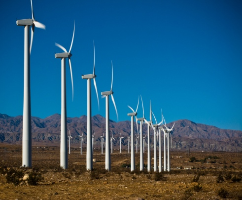 A wind farm in southern California. Photo courtesy of Alex Ferguson, Flicker Creative Commons.