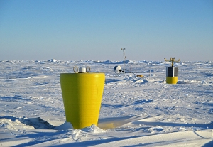 This ITP was installed in the Beaufort Sea in March 2014 to collect data on complex air-ice-ocean interactions that govern sea ice formation and retreat.(Credit: John Kemp, Woods Hole Oceanographic Institution)