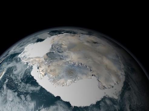 Despite warming temperatures, the sea ice around Antarctica is increasing in extent. Credit: NASA/GSFC Scientific Vizualization Studio