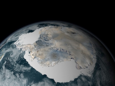 Despite warming temperatures, the sea ice around Antarctica is increasing in extent. Credit: NASA/GSFC Scientific Vizualization Studio