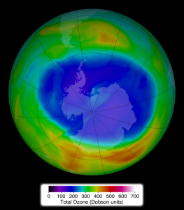 Ozone concentrations above Antarctica on Sept. 11, 2014. Credit: NASA