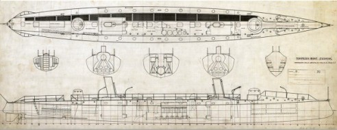 A general arrangement plan for the first ocean-going U.S. Navy torpedo boat #1, Cushing, launched in 1890 (Courtesy of MIT Museum)
